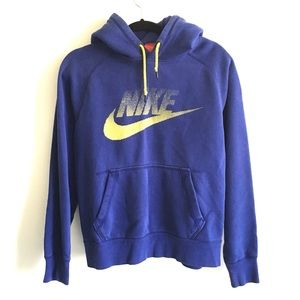 NIKE Hooded Pullover Sweatshirt Blue / Yellow S